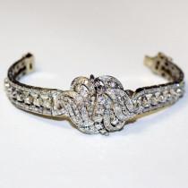 Vintage estate 14k gold diamond bracelet
