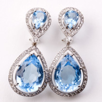 Chandelier blue topaz and diamond earrings