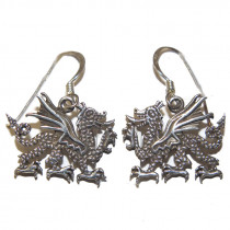 Estate 925 silver dragon earrings