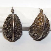 Estate 925 silver ornate hoop earrings