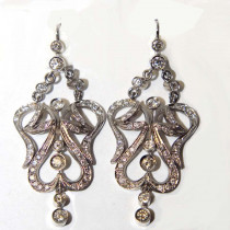 Chandelier diamond 14k gold earrings