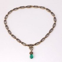 Emerald drope and diamond gold necklace