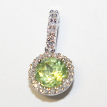 Estate 14k gold peridot & diamond pendant