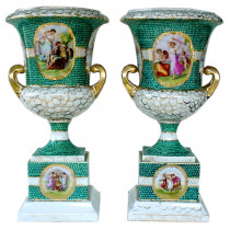 Two outstanding antique porcelain germany urns-vases