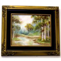 Framed vintage hand painted plaque