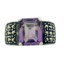 Estate amethyst 925 silver ring