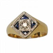 Estate 18k gold sapphire and diamond ring