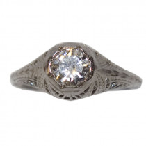 Estate 14k gold filigree diamond ring