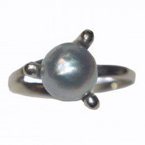 14k gold gray pearl ring