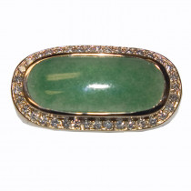 Estate 14k gold jade & diamond ring