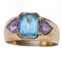 Estate topaz and amethyst 14k gold ring