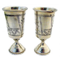 Pair ofchased 84 russian silver kiddish goblet