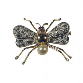 Big Gold Fly Brooch