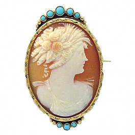 Shell Cameo Brooch With Turquoise