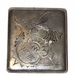 Antique Russian 84k Silver Engraved Cigarette Case