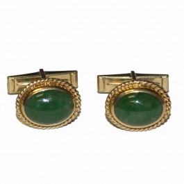 Beautiful Vintage 14k Gold Green Jade Cufflinks C1960's