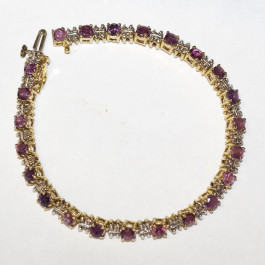 Estate 14k Gold Ruby & Diamond Bracelet