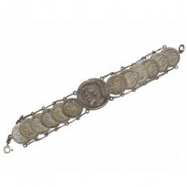 Estate Antique Russian Coin Silver Bracelet