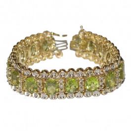 Estate 14k Gold Peridot & Diamond Bracelet