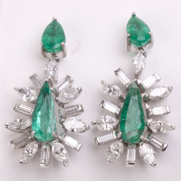 Estate Platinum Emerald and Diamond Earrings