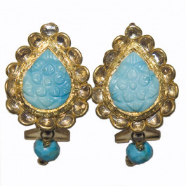 Vintage Carved Turquoise 22K Gold Earrings