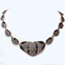 Onyx & Diamond 14k Gold Necklace