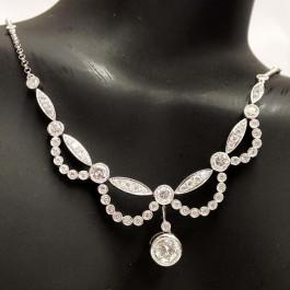 Estate Diamond 18k Gold Necklace