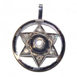 14k Gold Diamond Star of David Pendant