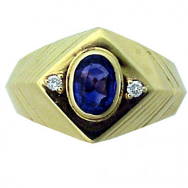 Estate Diamond and Sapphire 14k Gold Ring