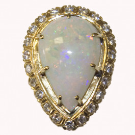 Estate 14k Gold Opal and Diamond Ring