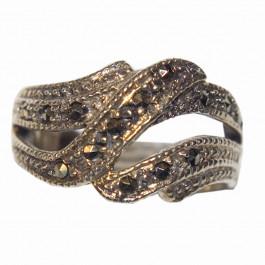 Estate 925 Silver Marcasite Ring -2
