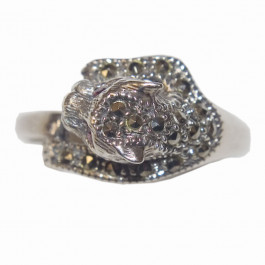 Estate 925 Silver Marcasite Ring -5
