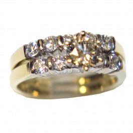 Engagement 18k Gold Diamond Double Ring