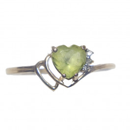 Estate Peridot and Diamond 14k Gold Ring