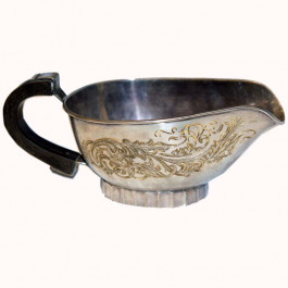 Engraved Silver Plated Gravy Boat