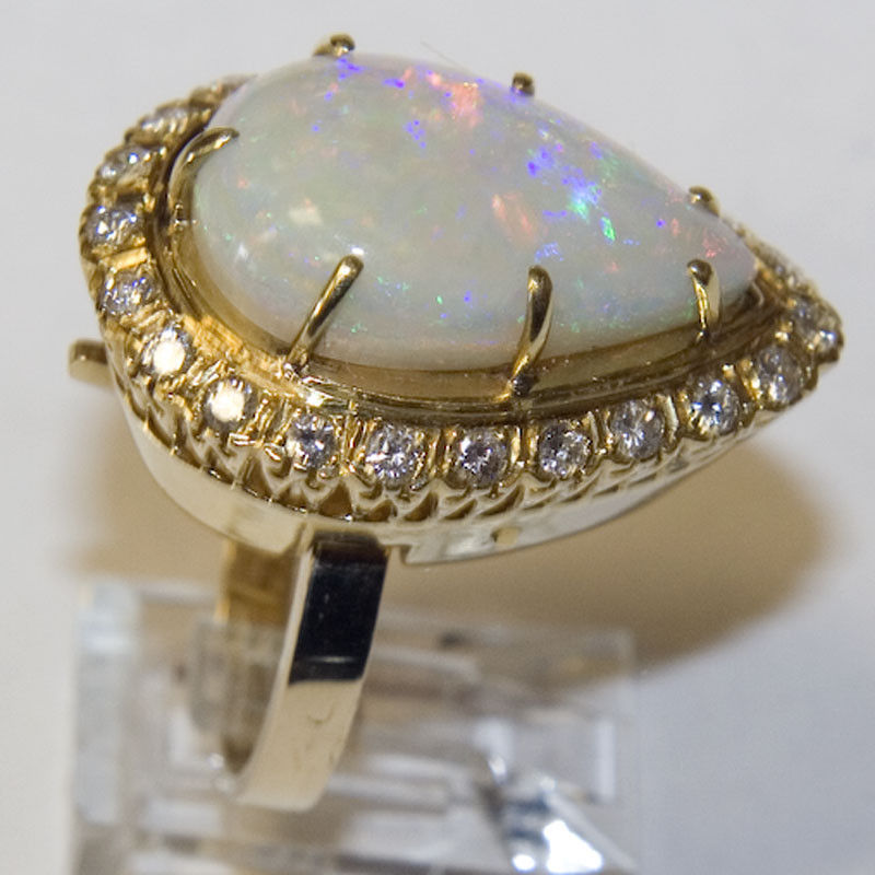 Estate 14k Gold Opal And Diamond Ring Antique Amp Estate