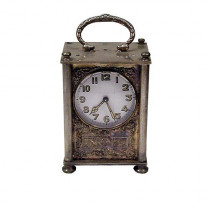 French Brass & Silver Enamel-face Carriage Clock
