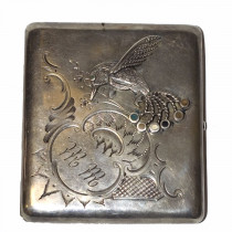 Antique russian 84k silver engraved cigarette case