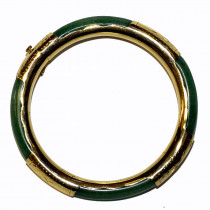 Estate 14k Gold Segment Jade Bracelet