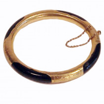 Estate 14k Gold Segment Onyx Bracelet