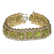 Estate 14k Gold Peridot & Diamond Bracelet