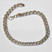 New 925 Silver Fancy Double Link Chain Bracelet