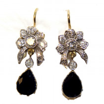 Estate 14k Gold Sapphire and Diamond Flower Design Earrings