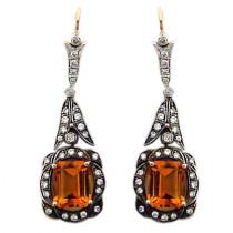 Estate Diamond and Citrine Chandelier 14k Gold Earrings