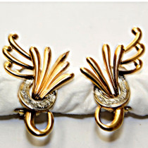 Vintage 18K Gold Diamond Feather Earrings