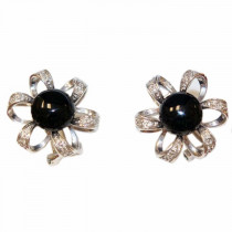 14k Gold Onyx and Diamond Earrings