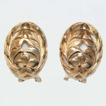 Estate 14k Gold Oval Earrings With Flower Motiff