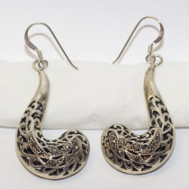 Estate Chandelier 925 Silver Filigree Earrings