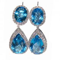 Blue topaz and diamond 14k gold chandelier earrings