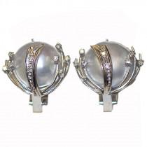 Estate Mabe Pearl & Diamond 18k Gold Earrings